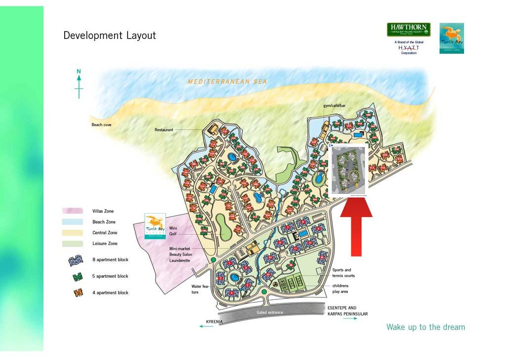 Områdekart Turtle Bay Village